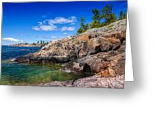 Rocky Coast And Clear Water Of Lake Superior Greeting Card