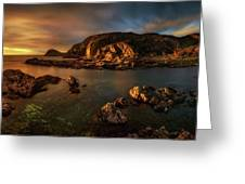 Rocky Coastline At Sunset, Point Greeting Card