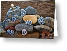 Rocky Faces In The Sand Greeting Card