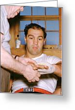 Rocky Marciano Getting Taped Up Greeting Card