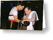 Rocky Marciano Looking At Glove Greeting Card by Retro Images Archive