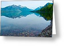Rocky Mountain And Rocky Bottom Reflection In Lake Mcdonald In Glacier National Park-montana Greeting Card