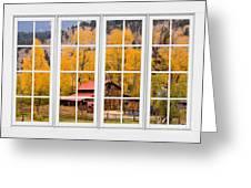 Rocky Mountain Autumn Ranch White Window View Greeting Card