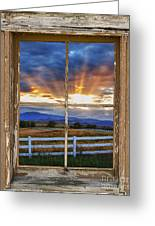 Rocky Mountain Country Beams Of Sunlight Rustic Window Frame Greeting Card