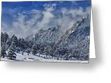 Rocky Mountain Dusting Of Snow Boulder Colorado Greeting Card