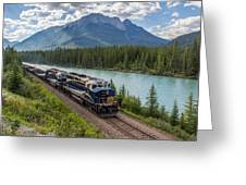 Rocky Mountaineer At Muleshoe On The Bow River Greeting Card by Steve Boyko