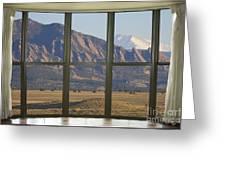 Rocky Mountains Flatirons With Snow Longs Peak Bay Window View Greeting Card