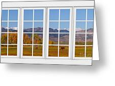 Rocky Mountains Horses White Window Frame View Greeting Card