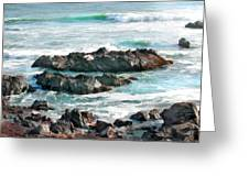 Rocky Ocean Shoreline One Greeting Card