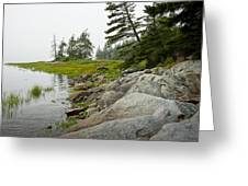 Rocky Shore By The Narrows To Mount Desert Island Greeting Card