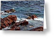 Rocky Shoreline - Coast -  Painterly Effects -  Panorama Greeting Card