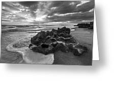 Rocky Surf In Black And White Greeting Card