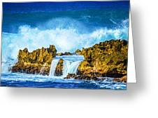 Rocky Waves North Shore Greeting Card by Lisa Cortez