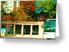 Roddick Gates Mcgill Campus Sherbrook Street Bus Autumn Downtown Montreal City Scenes Carole Spandau Greeting Card