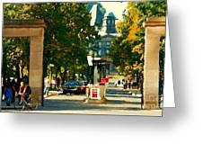 Roddick Gates Painting Mcgill University Art Students Stroll The Grand Montreal Campus C Spandau Greeting Card