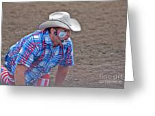 Rodeo Clown Cowboy In Dust Greeting Card