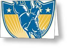 Rodeo Cowboy Riding Bucking Bull Stars Shield Retro Greeting Card by Aloysius Patrimonio