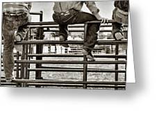 Rodeo Fence Sitters- Sepia Greeting Card