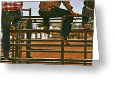 Rodeo Fence Sitters- Warm Toned Greeting Card