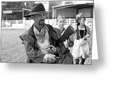 Rodeo Gunslinger With Saloon Girls Bw Greeting Card