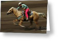 Rodeo Riding A Hurricane 2 Greeting Card