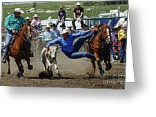 Rodeo Steer Wrestling Greeting Card