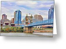 Roebling Bridge And Downtown Cincinnati 9850 Greeting Card