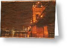 Roebling Bridge Stone N Wood Greeting Card