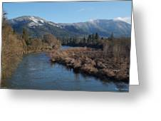 Rogue River And Mt Baldy In Winter Greeting Card