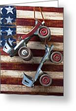 Rollar Skates With Wooden Flag Greeting Card