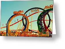 Rollercoaster At The Octoberfest In Munich Greeting Card