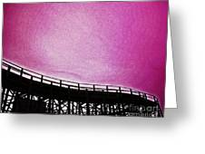 Rollercoaster In Pink Greeting Card
