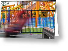 Rollercoasters At Amusement Park Greeting Card