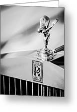 Rolls-royce Hood Ornament -782bw Greeting Card