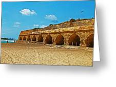 Roman Aqueduct From Mount Carmel 12 Km Away To Mediterranean Shore In Caesarea-israel  Greeting Card