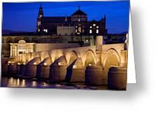 Roman Bridge And Mezquita In Cordoba At Dawn Greeting Card