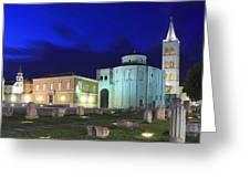 Roman Forum And St Donatus Church At Night Zadar Croatia Greeting Card