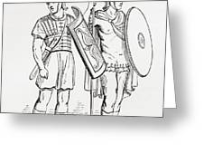 Roman Infantry Soldiers, After Figures On Trajans Column.  From The Imperial Bible Dictionary Greeting Card