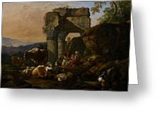 Roman Landscape With Cattle And Shepherds Greeting Card