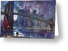 Romance By East River Nyc Greeting Card