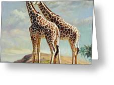 Romance In Africa - Love Among Giraffes Greeting Card