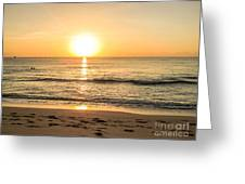 Romantic Ocean Swim At Sunrise Greeting Card