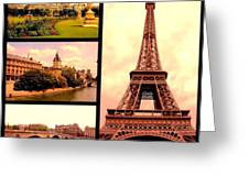 Romantic Paris Sunset Collage Greeting Card