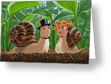 Romantic Snails On A Date Greeting Card by Martin Davey