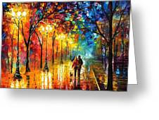 Romantic Stroll - Palette Knlfe Oil Painting On Canvas By Leonid Afremov Greeting Card