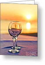 Romantic Sunset Drink With Wine Glass Greeting Card