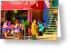 Romantic Terrace Dinner Date Piazzetta Bistro Rue St Denis French Cafe Street Scene Carole Spandau  Greeting Card