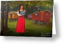 Romany Mother And Child Greeting Card