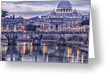 Rome And The River Tiber At Dusk Greeting Card