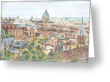 Rome Overview From The Borghese Gardens Greeting Card by Anthony Butera